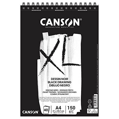 CANSON XL Dessin Noir, blocco da disegno nero, DIN A4, 40 fogli, 150 g/m²