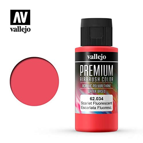 Vallejo Premium RC Colores acrílicos para modelismo/DE aerografía 60ML (62034Scarlet flúor)