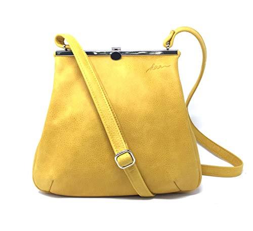 Ledertasche Handtasche Tasche Umhängetasche Henkeltasche Leder Vintage sonnengelb gelb Damen Frauen Bügelverschluss silber Abendtasche Shopper Made in Berlin