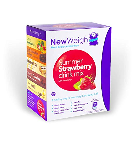 NewWeigh Summer Strawberry Meal Replacement Shake, 7 x 60g sachets - Suitable for Coeliacs & Vegetarians - High Fibre & High Protein