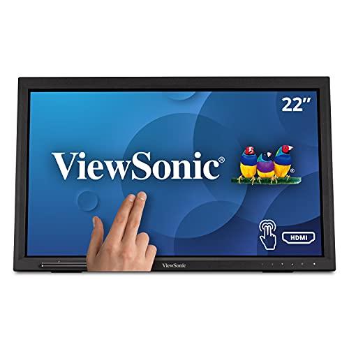 "WiewSonic TD2223 - Monitor táctil de 22"" Full HD, HDMI, USB, 10 Puntos, Soporte Integrado, Altavoz, Color Negro"