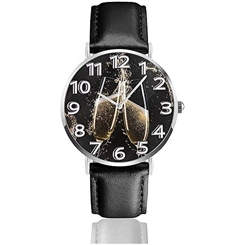 Brille Champagner Splash Uhren PU Leder Armbanduhr Life Silence Quarzuhr mit Silber Edelstahl