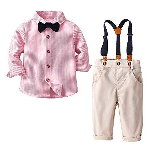 Conjunto de Ropa de Fiesta para BebéS Conjuntos Casuales para NiñOs PequeñOs Camisa A Cuadros + Pantalones con Tirantes + Pajarita Rosa 6-12 Meses