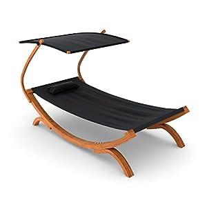 Ampel 24 Doppel-Sonnenliege Panama mit Dach schwarz, Gartenliege mit Holzgestell wetterfest, Sonnendach verstellbar…