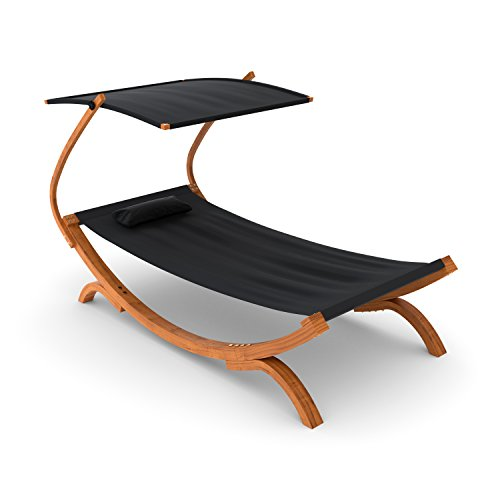 Ampel 24 Sonnenliege Panama mit Dach schwarz, Gartenliege mit Holzgestell wetterfest, Sonnendach verstellbar, Liege mit Kissen