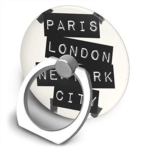 ARRISLIFE Paris London New York City Soporte para teléfono,Round-Shaped Soporte para Anillo de teléfono Celular,360 Degrees Rotating Soporte de Metal
