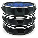 Kozo Grinders [Upgraded Version] Herb Grinder. Large 4 Piece, 2.5 Inch Black Aluminium (Blue- Lightning)