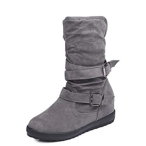 DAHUZI Zapatos De Mujer Más Botas De Algodón Acolchado De Terciopelo Zapatos Cálidos Botas Largas Retro Zapatos para Caminar Compras Botas De Charol Personalizadas