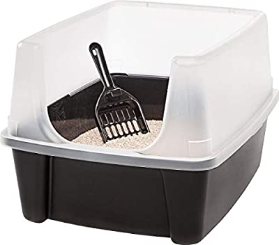 "Clean Pet Cat Kitty Open Top Large Cats Litter Box with Shield and Scoop New! by ""IRIS USA, Inc."""