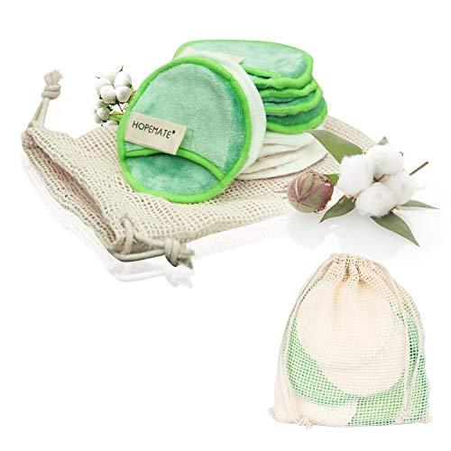 Waschbar Abschminkpads aus Bambus und Samt, Wiederverwendbare Super Adsorptionskraft Makeup Entferner Pads,Superweich,Zero Waste-Lifestyle, Perfekt für Gesichtsreinigung und Baby(10 Stück)