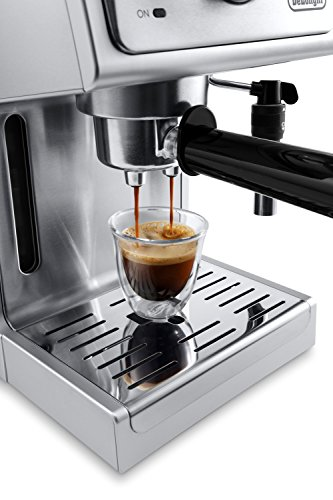 """De'longhi bar pump espresso and cappuccino machine, 15"""", stainless steel 7 15 bar professional pressure assures quality results every time second tier drip tray to accommodate larger cups removable 37 ounce water tank. Full stainless steel housing"""