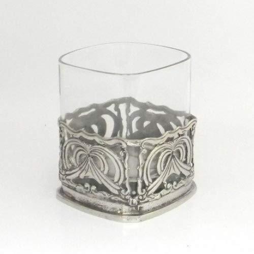 Whiskyglas mundgeblasenes Glas und Zinn Jugendstil