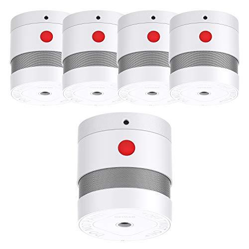 HEIMAN Mini Rauchmelder Feuermelder mit 10 Jahren Batterielaufzeit EN14604 Zertifizierter Rauchwarnmelder mit Feueralarm und Fotoelektrischem Sensor (5er Set)