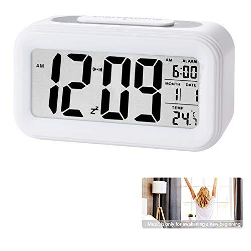 Reloj de Alarma Digital, LCD Pantalla Reloj Alarma Inteligente y con Pantalla de Fecha y Temperatura Función Despertador con Sensor de luz y función Snooze Funciones, para Niños Adultos (blanco)