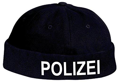 Holashirts Mallorca Docker-Cap Polizei Policia Cop Kappe Police Bikercap Roll-Mütze Karneval Fasching (dunkelblau/weiß)