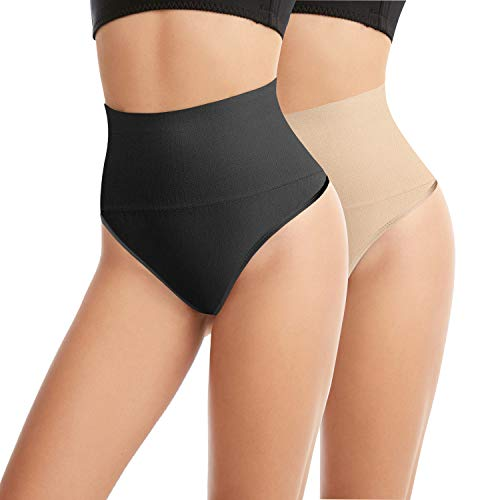 L&K-II 2 Unidades Tanga String Body Faja Modeladora Reductora sin Costuras para Mujeres 3601 Negro+Beige S/M
