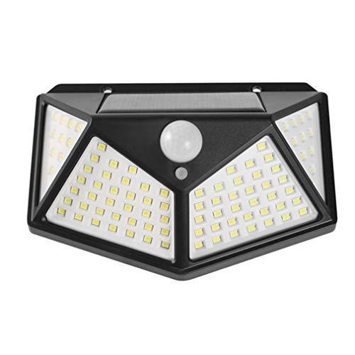 Luz Solar Exterior 100 LED【Calidad Precio 1200mAH Placa Solar】Foco solar con PIR Sensor de Movimiento Inalámbrico Lámpara Solar Iluminación de Seguridad Impermeable Proyector para Jardín,Garaje