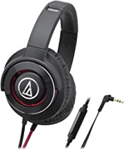 Audio-Technica ATH-WS770iSBRD Solid Bass Over-Ear Headphones with In-Line Mic & Control, Black/Red