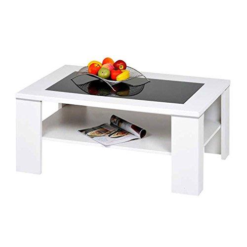 Alfa-Tische Santos M1964 Table basse Avec verre noir et sous-plateau Blanc 100 x 65 cm