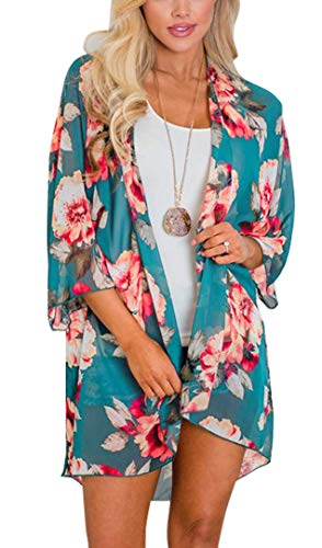 Women's Floral Print Puff Sleeve Kimono Cardigan Loose Cover Up Casual Blouse Tops(Blue Green, L