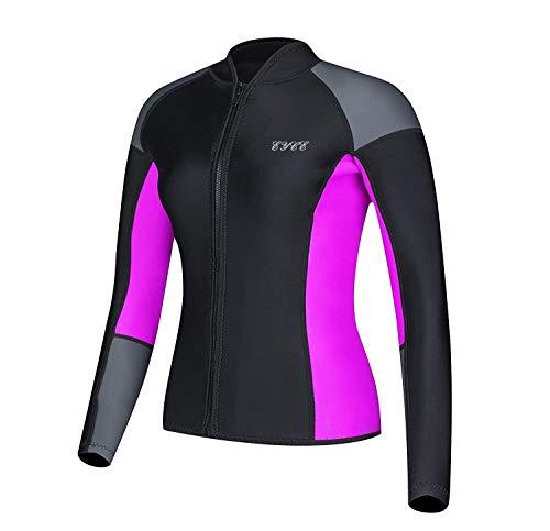 EYCE DIVE & SAIL Women's 1.5 mm Wetsuits Jacket Long Sleeve Neoprene Wetsuit Top (Grey/Purple, L = US 6)