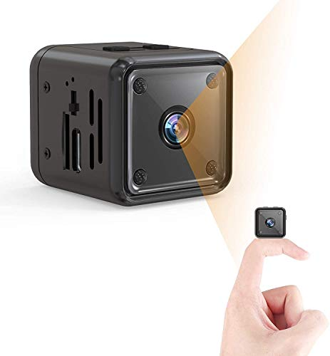 Mini Spy Camera, Wireless Hidden Webcam for Computer Laptop, Full HD Cop Spy Cam Body Camera, Security Nanny Cam Home,Car,Office Indoor Outdoor, 32GB SDHC Memory Card