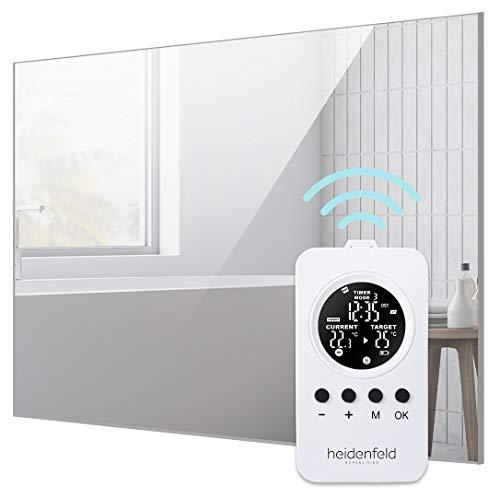 Heidenfeld Heizspiegel HF-HS100 + Heidenfeld Thermostat-Fernbedienung - 10 Jahre Garantie - Deutsche Qualitätsmarke - TÜV GS - 300 Watt - 3-8 m² (HF-HS100 300 Watt)