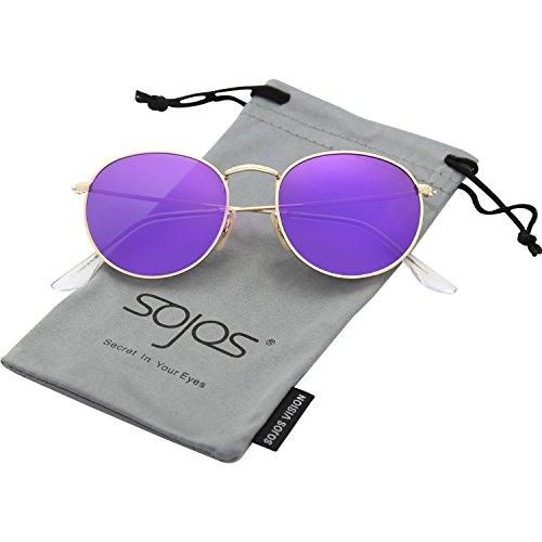 SOJOS Occhiali da Sole da Uomo e Donna Polarizzati Rotondi Vintage Retro Specchiati Protezione UV SJ1014 Con Oro Telaio/Viola Lente