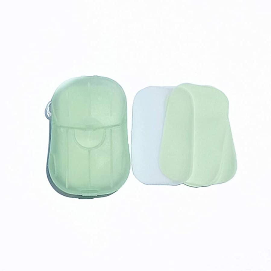 ジョイントソケットインフラFeglin-joy ペーパーソープ せっけん紙 除菌 石鹸 手洗い お風呂 旅行携帯用 紙せっけん かみせっけん 香り 20枚入 ケース付き(よもぎ)