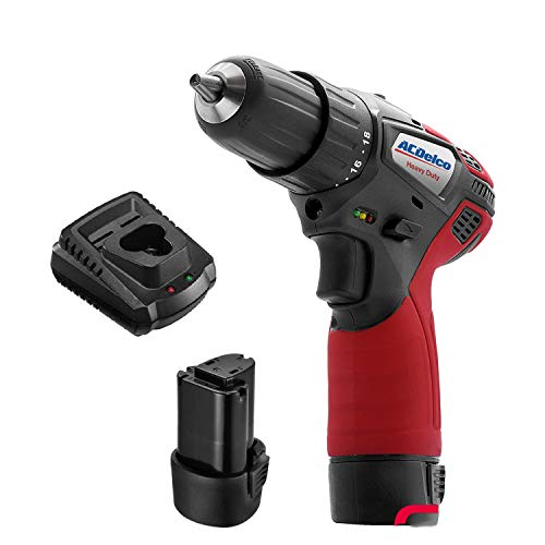 """ACDelco ARD12119P 12V Cordless Li-ion 3/8"""" 265 In-lbs. 2 Speed Compact Drill Driver Tool Kit with 2 Batteries"""