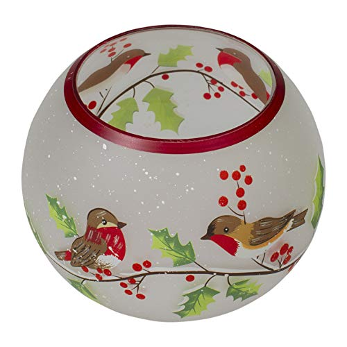 Candle Holder 5-Inch Finchess and Pine Flameless Glasss - Holidaay Decorationss - XMAS10