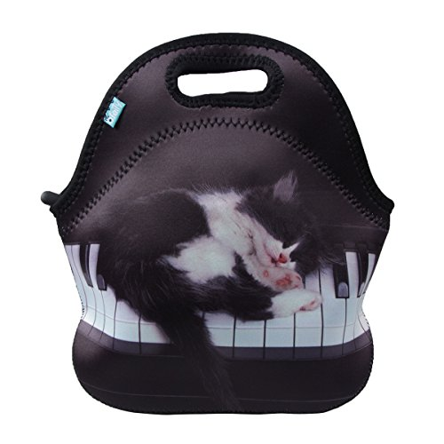Lunch Boxes, OFEILY Lunch Tote Lunch bags with Neoprene(Middle, Piano cat)