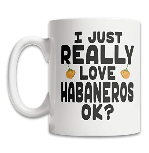 DKISEE Leuke Habanero Pepper Koffiemok - Ik hou van Habaneros Koffiemok - Grappige Habanero Gift Koffiemok - Hot Pepper Koffiemok - Leuke Habanero Gift Idee - Kruidige Peper Koffiemok 11oz Kleur: wit
