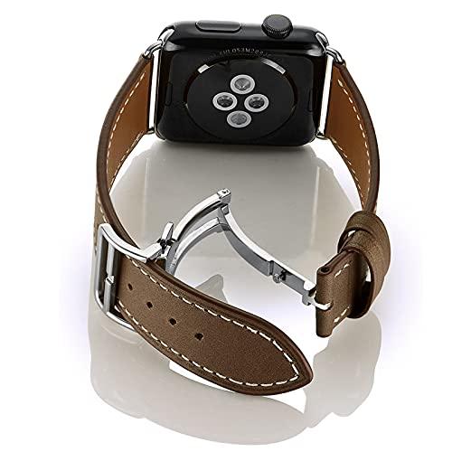 Pulsera de Reloj de Reemplazo de Piel Becerro,Para Apple Watch Correa 38mm 40mm 42mm 44mm,Vintage,Correa de cuero con hebilla de plegable ,para iWatch Serie 1/2/3/4/5/6/SE.,Dark Brown,42mm/44mm