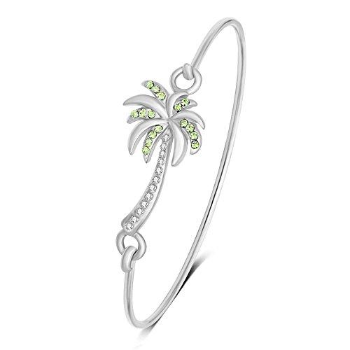 MANZHEN Beach Jewelry Palm Tree Bangle Bracelet Summer Style Hook Bangle (Silver)