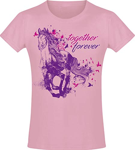 Camiseta: Together Forever - Amor - Niña - Caballo Jaca - Poney Poni Pony - Rosa Pink - Regalo de cumpleaños - Amiga - Cabalgar - T-Shirt - Escuela (152)