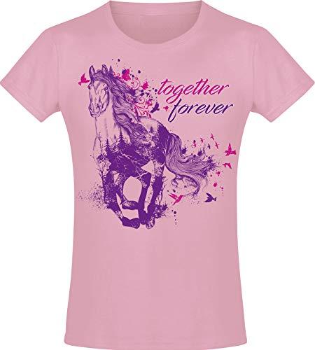 Together Forever - Mädchen Pferde T-Shirt - Geburtstag-s Shirt Pferd - Kinder - Geschenk-Idee - Freundin - Reiten Pony - Horse-Girl - Pink Rosa - Niedlich - BFF - Schule - Kindergeburtstag (152)