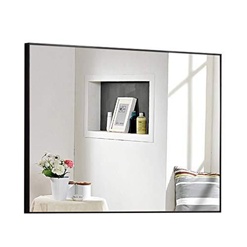Miroir de salle de bain, grand miroir mural rectangulaire, avec miroir de courtoisie, chambre à coucher, étanche (Couleur : NOIR, taille : 60 * 80cm)