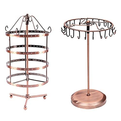 RJJX 4 Niveles Color de Cobre Giratorio 72 Pares Pendiente Pendiente y Soporte de joyería 23 Ganchos Caja de Almacenamiento de Collar de rotación (Color : Bronze Copper)