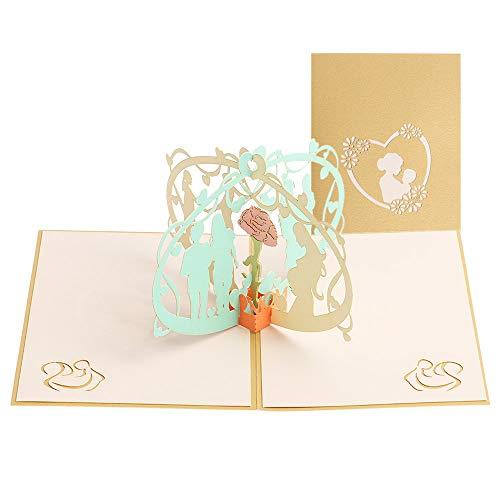 aiwikang Persönlichkeit Pop-Up 3D handgefertigt Segen Grußkarten Alte Einladungen Postkarte(3)