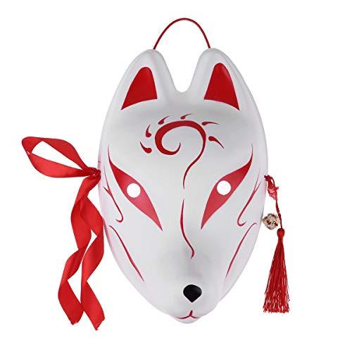 IEFIEL Máscara de Zorro De PVC para Carnaval Halloween Fiesta/Cara Pintada a Mano con borlas y campanitas para Fiesta de Disfraces Kabuki Kitsune Rojo D Talla Única