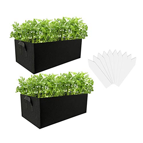 Dsaren 2 Pezzi Vaso Tessuto Quadrato Borsa Piante con Manico Letto da Giardino Rialzato per Fiori Patata Pomodoro Verdure Fragola (nero)