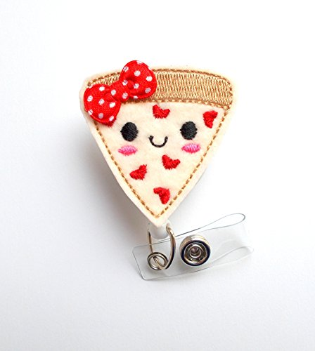 Pizza Badge Reel (with Bow) - Nutritionist Badge Holder - ID Felt Badge Holder - Food Badge Reel - Nurses Badge Holder - Funny Badge Reel - Dietitian Badge - Humorous Badge Clip