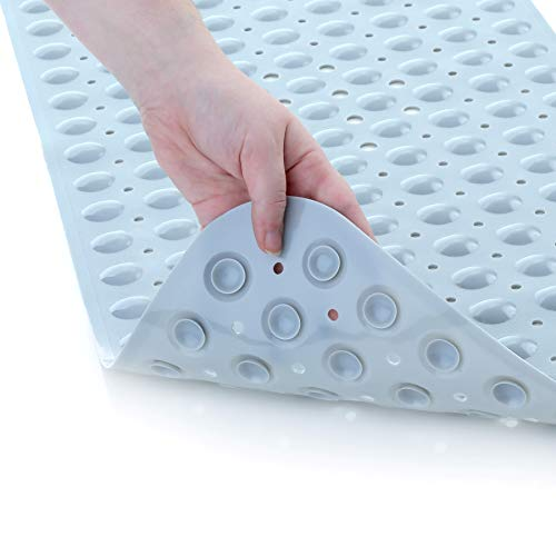 SlipX Solutions Gray Extra Long Bath Mat Adds Non-Slip Traction to Tubs