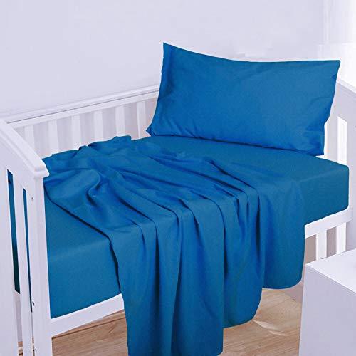 NTBAY 3-Piece Microfiber Toddler Sheet Set, Solid Crib Fitted Sheet Flat Sheet and Envelope Pillowcase, Baby Bedding Sheet & Pillowcase Sets, Royal Blue