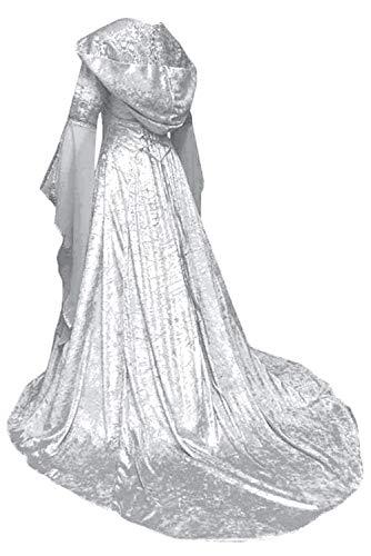 Vestido Maxi con Capucha Medieval de Navidad de Halloween para Mujeres Traje de Manga de la Llamarada de Impresion Victoriana Retro Vintage, M
