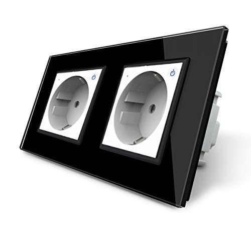 LIVOLO ZigBee Smart SmartHome - Enchufe inteligente con 2 enchufes (táctil, marco de cristal, VL-C7ZBED-11-VL-C7-SR-SR-12-A