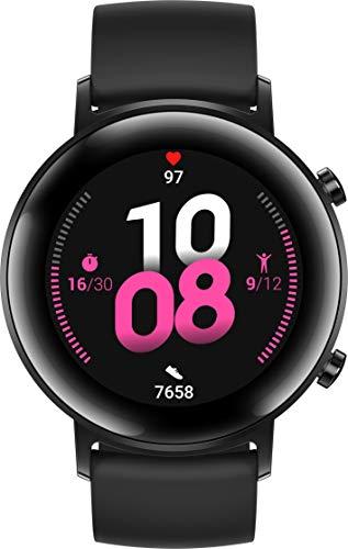 HUAWEI Watch GT 2 Smartwatch (42 mm Full-Color-AMOLED Touchscreen, SpO2-Monitoring, Herzfrequenzmessung, Musik Wiedergabe, 5ATM wasserdicht, GPS) Night Black [Exklusiv +5 EUR Amazon Gutschein]