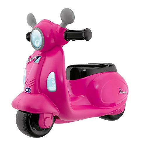Chicco Vespa per Bambini Primavera Rosa, Moto Giocattolo Cavalcabile con Pannello Elettronico, Luci e Suoni, Ruote di Supporto Rimuovibili, Max 25 Kg, Giochi per Bambini 1-3 Anni