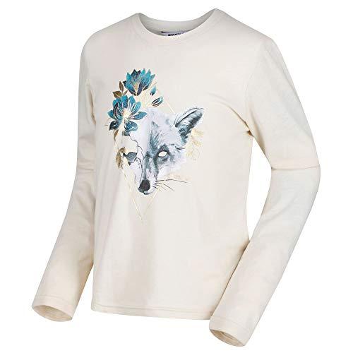 Regatta T- Shirt Manches Longues Junior Wendell 100% Coton Coolweave avec imprimé Graphique Mixte Enfant, Light Vanilla, FR : L (Taille Fabricant : 152)